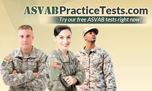 Logo for ASVAB Practice Tests with 3 U.S. Soldiers
